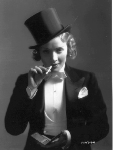 "Dietrich in another great publicity still from ""Morocco""."