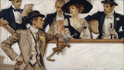 In the Stands 1.  1913.  Oil on canvas.  Arrow collar advertisement