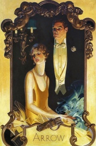 """Man with Seated Lady.""   Oil on canvas. 1929.  Arrow shirt ad."