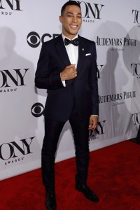 Nominee Charl Brown in a midnight-blue Valentino tuxedo.  (Getty Images)