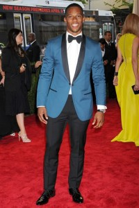 New York Giants' star receive Victor Cruz in Lanvin.  (Rex Features)