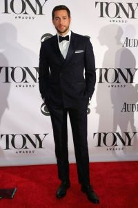 Broadway newcomer Zachary Levi matches his double-breasted midnight-blue  Bruno Cucinelli tuxedo with his bow tie.  (Getty Images)