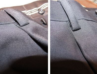 detail of pleats on both trousers
