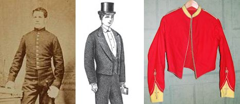 Royal Artillery shell jacket circa 1870s (left) and Eton dress from 1882 (right). (Wikipedia | Record of Fashion)