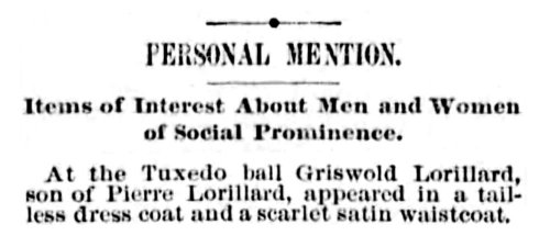 News brief from a Philadelphia paper, October 1886. The story was originally reported in detail by scandal sheet Town Topics that indicated the outfit was also sported by Griswold's young friends.