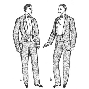 "1888 British illustration shows that the new ""dress jacket"" is notably longer than a tailcoat would be without its tails"