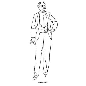 "Illustration from aforementioned Etiquette of Men's Dress that uses ""tailless dress coat"" and ""dress sack"" interchangeably"