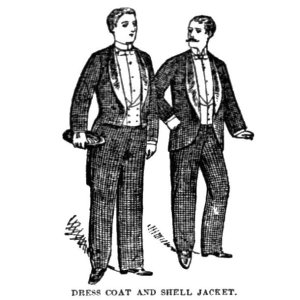 "From an article appearing in at least five different September 1890 periodicals which reports on the garment known as ""the shell jacket or tailless dress coat"""