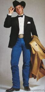 An early western themed formal outfit from a 1983 issue of GQ.