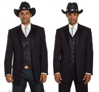 Westernized tuxedo jacket featuring front and back accented yokes.  Worn with a bolo tie and vest and comparing formal trousers vs. dark jeans. (Chaps Ralph Lauren)