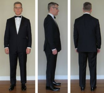 Shown here is the midnight-blue tuxedo, turndown-collar shirt, self-tie straight-end bow tie, patent-leather shoes.  (For economy's sake, the trousers have been pinned rather than hemmed)