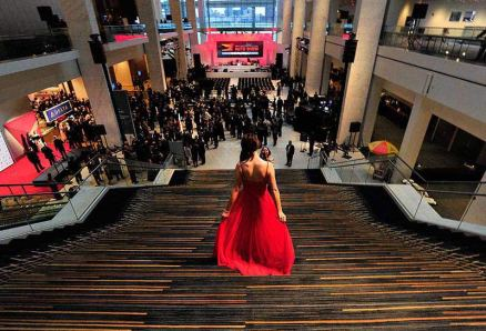 Arriving at the private reception. (Daniel Mears / The Detroit News)