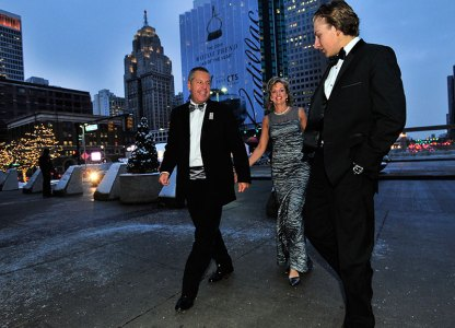 ord executive Joe Hinrichs, wife Maria and son Andrew arrive for event. (Daniel Mears / The Detroit News)