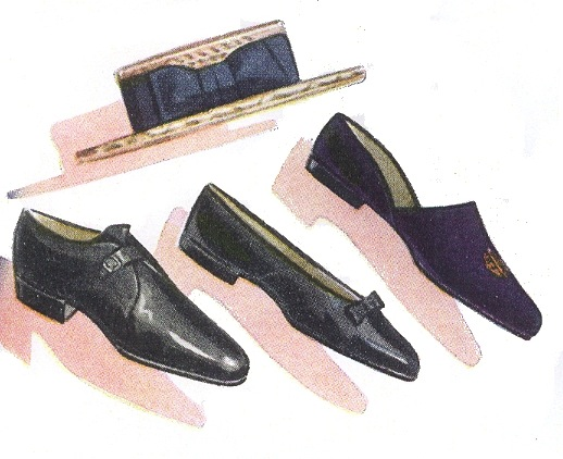 "80763ed8246 From the January 1939 issue of Esquire  ""Blue velvet formal house slipper  with gold"