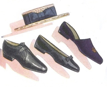 "From the January 1939 issue of Esquire: ""Blue velvet formal house slipper with gold monogram, worn by well-dressed men at house parties in Palm Beach and other Southern resorts.""  Note that the illustration resembles a regular slipper more than a traditional Albert slipper."