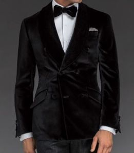 "Velvet  ""Ashe"" shawl-collar double-breasted dinner jacket with side vents.  $1,597."