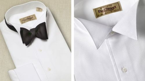 Wing-collar formal shirt with piqué bib. $228.