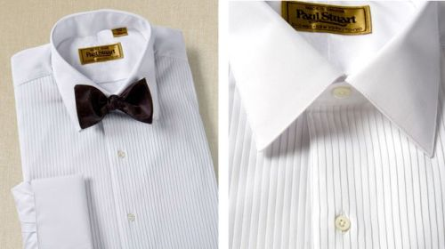 Pleated formal shirt with turndown collar. $387.