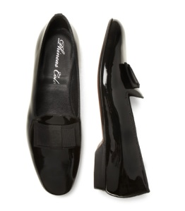 Patent leather formal pump with grosgrain bow and leather sole.  Male in Italy.  $395.