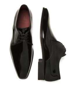 Patent formal lace-up with leather sole.  Made in Spain.  $375.