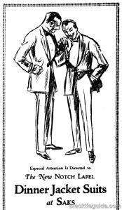 1922 Saks ad. The notched lapel's popularity in the 1920s came at the expense of the shawl collar.