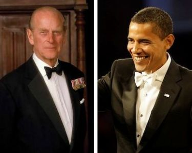 Prince Philip in 2005 photo portrait, President Obama at his 2009 Inaugural Ball.