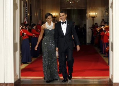 The Obamas host their first official black-tie dinner in February 2009.  (Reuters)