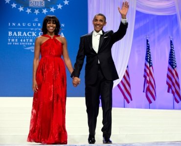 The return of the white bow tie at Obama's second inaugural ball in 2013.  (Getty)