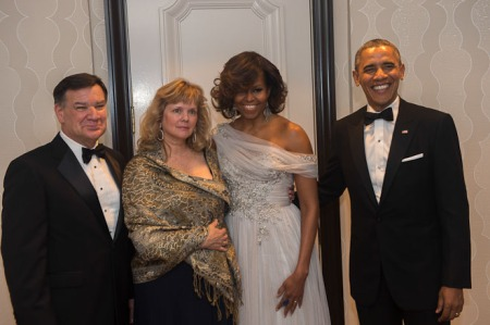 The 2014 White House Correspondents' Dinner: At long last, a proper black-tie outfit.  (WHCA)