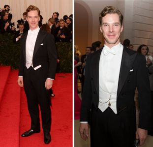 Actor Benedict Cumberbatch's was technically the correct length but not constructed well enough to remain properly positioned throughout the evening.