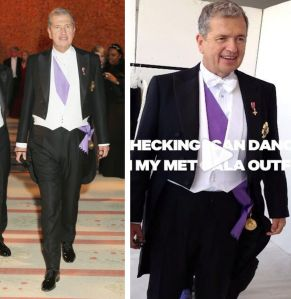 Photographer Mario Testino's tailcoat also tended to creep upwards.  Incidentally, Testiono appeared to be the only guest wearing actual decorations (the Order of the British Empire and his native Peru's Grand Cross Order of Merit).