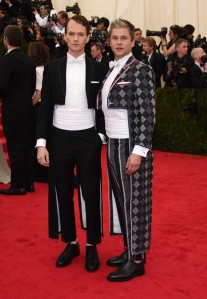 Neil Patrick Harris and partner David Burtka in Tom Browne may have intended to be ironic but they only succeeded in being insulting to the other guests. (Larry Busacca / Getty)