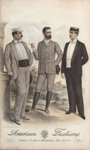 July 1890.  The dinner jacket is shown with a straw hat. 1890-1895, Plate 002