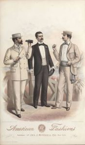 July 1891.  Note the 1890s vogue for cummerbunds with informal daywear as described in a previous post. 1890-1899, Plate 015  1800s, Plate 016