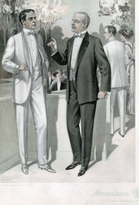 July 1910. Semi-peaked lapels were  a period trend in both dinner jackets and waistcoats. 1909-1910, Plate 031