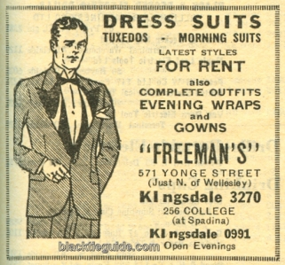 Formalwear rental ad from 1937 Toronto phone book.