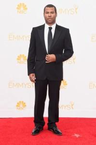 Actor Jordan Peele's tuxedo fits like a rental.  (Frazer Harrison/Getty Images)