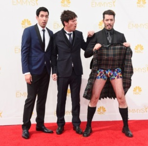 TV personalities Drew Scott, Jonathan Silver Scott, J.D. Scott competing for honour of biggest douchebag. (Frazer Harrison/Getty Images)