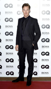 The black-on-black look can never be truly impressive but Benedict Cumberbatch in Spencer Hart at least manages to make it respectable (although technically the waistcoat is midnight blue).  (XPOS/AKM-GSI)