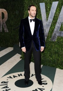 Ford in a blue velvet dinner jacket at the 2012 Vanity Fair Oscar after-party.